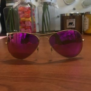 Pink and Gold aviator ray bans BEST OFFER